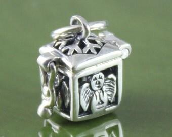 Sterling Silver Angel Prayer Box, Charm Pendant, Prayer Box Charm, Angel Charm, Angel Locket, Angel Pendant, Wish Box Pendant, Angel, PB023S