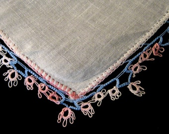 White Hanky with Blue & Pink Tatting Trim,Vintage Handkerchief,Wedding Favour, Wedding Hanky,