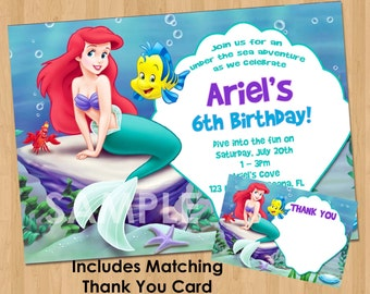 Etsy Your Place To Buy And Sell All Things Handmade - Custom ariel birthday invitations