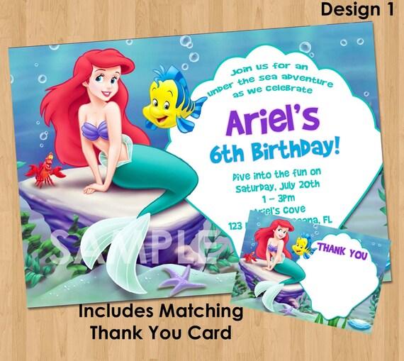 kleine meerjungfrau einladung & dankeschön druckbare, Einladung