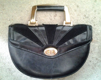 Vintage Black Leather/Suede Veneto Handbag