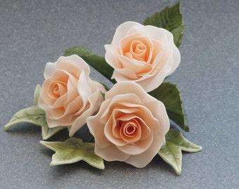 Large Rose and Leaf Sugar Flower Cake Topper