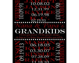 Custom Grandparents Wall Print. Grandparent Anniversary Gift, Grandma and Grandpa, Grandchildren Names and Birthdays