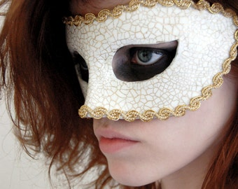 Made to Order - White and Gold Masquerade Mask