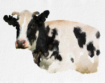Cow Painting Art Print  Animal black white grey pink Home Decor  Wall Decor Kitchen Decor Beach Decor
