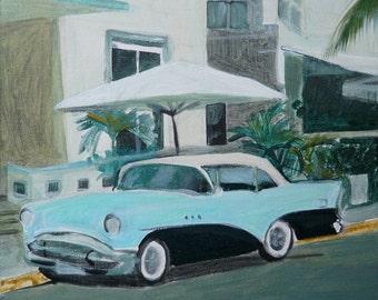 """57 Buick In Miami - 12"""" x 12"""" - acrylic painting on canvas, South Beach, Florida, hotel façade, blue car, sun shade"""