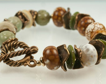 Caramel Drizzle Bracelet - carved jade, agate, lampwork, gold-filled rondels and bronze