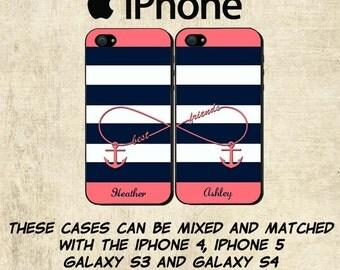 iPhone 6 Case - Best Friends iPhone Case - Personalized iPhone 5C Case - iPhone 4 Case - Infinity Anchor iPhone 5S Case - TWO CASE SET