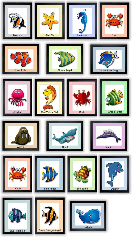 Sea Animal Prints Mix and Match Kids Art Nursery Art Nursery Print Child Baby Art Print Kids Room Wa