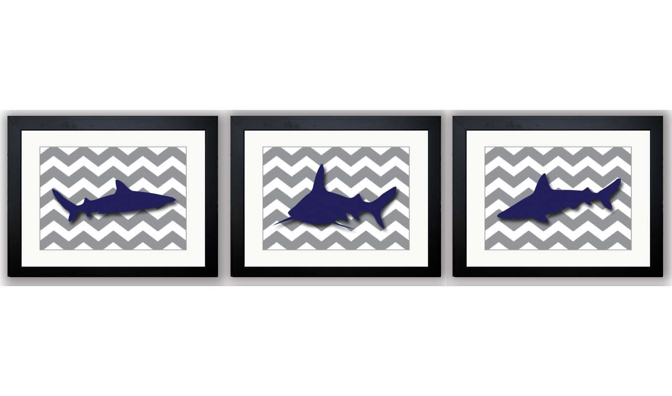 Shark Animals Art Prints Dark Grey Chevron Set of 3 Blue Sharks Boys Art Nursery Art Nursery Print C