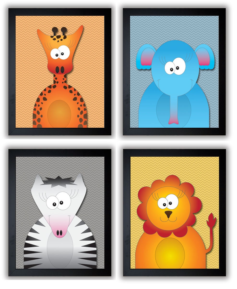 African Animals Kids Art Nursery Art Nursery Print Child Jungle Baby Art Prints Set of 4 Giraffe Zeb