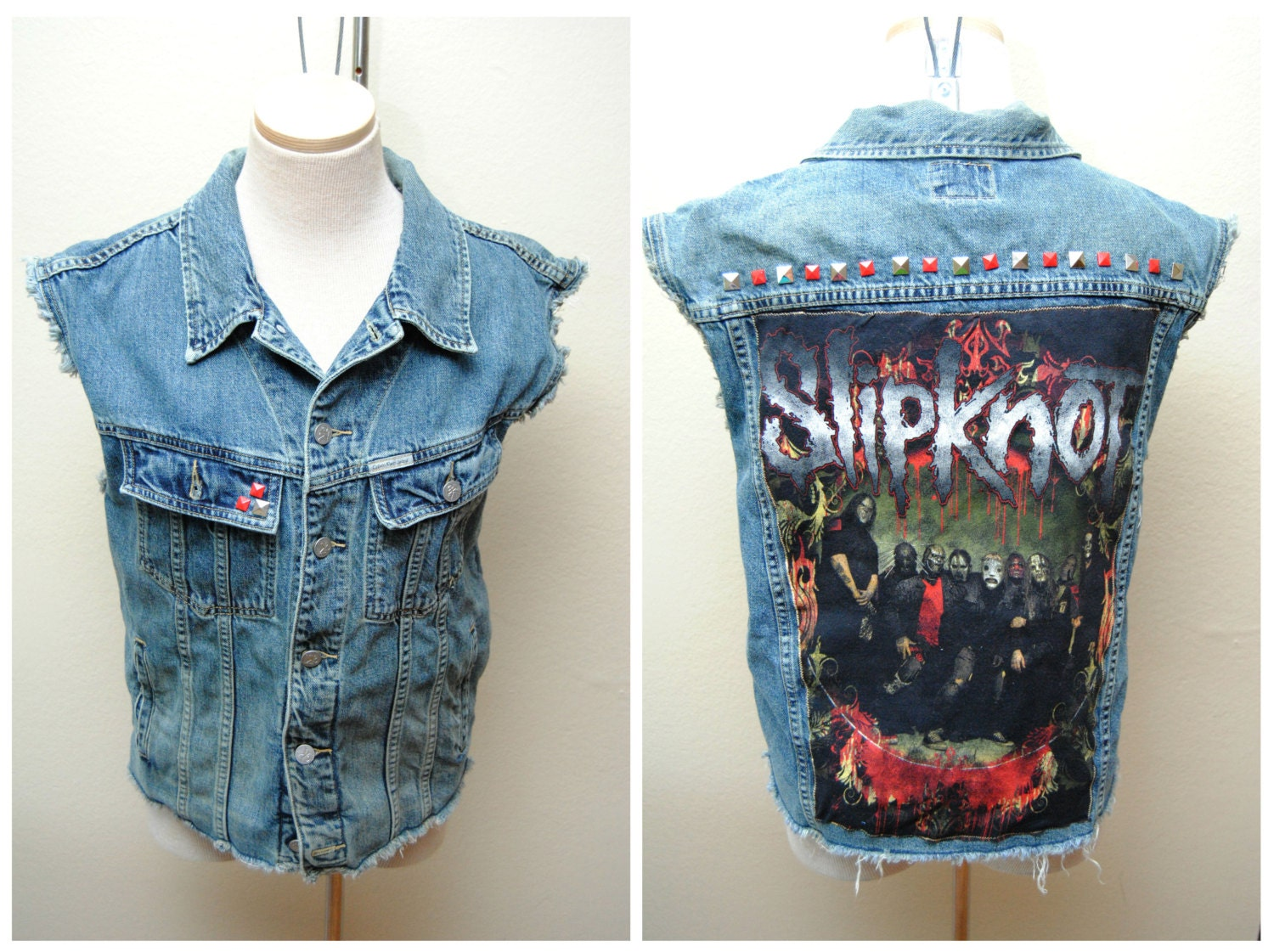 Slipknot Jean Denim Vest Heavy Metal Band Patch With Studs