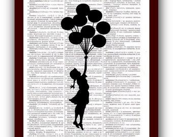 Banksy Girl  balloon  Art Print : urban street art of graffiti upcycled dictionary pages musical Notes Art Print