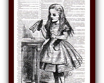 """Print Wall Art Alice in Wonderland with """"Drink Me"""" Home Decor  Art Print: upcycled dictionary pages  musical Notes Art Print"""