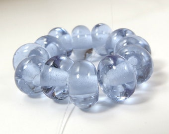 Transparent Neo-Lavender - Set of 12 Handmade Spacer Beads