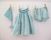 Vintage Toddler Outfit, Peasant Dress with Bloomers and Handkerchief Hair Tie, Size 18-24 months