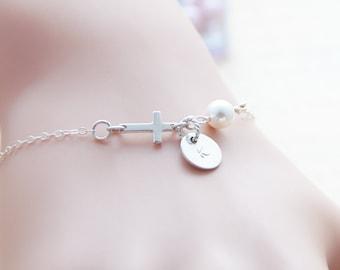 Sideways Cross Initial Disc Charm Bracelet, Sterling Silver, Pearl Bracelet, Simple Bridesmaid Gift, Wedding Jewelry, Religious