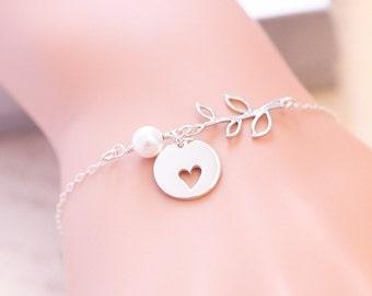 Leaf Branch Heart Cutout Bracelet, Heart Bracelet, Sterling Silver, Pearl Bracelet, Sisterhood, Mother Daughter, Friendship