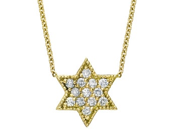 Star Of David Necklace - Diamond Star Of David Necklace - Gold Star Of David Necklace - Jewish Star - Magen David - Jewish Jewelry