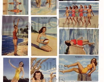 Bathing Beauties Number 3 Digital Download Collage Sheet