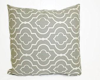 Decorative Millcreek Gray and Cream Pillow Cover 12x16, 16x16, 18x18