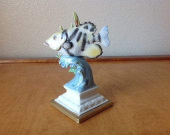 Capodimonte Yellow and Black Fish Figurine from Italy