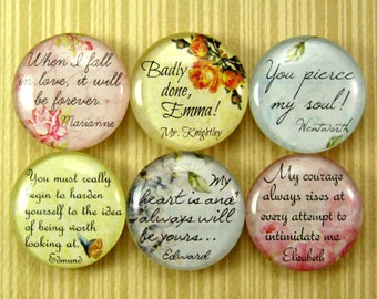 Jane Austen, Glass Tile Magnet Set