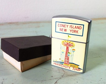 VINTAGE CONEY ISLAND Lighter -  antique 1950s Steeplechase Park Old Brooklyn Flip Top Style Souvenir