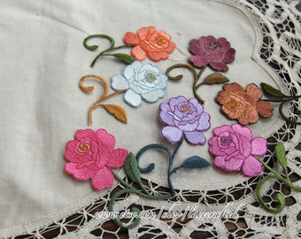 4 Colorful Rosy Floral Embroidery Appliques Cotton Applique, Rose Flower Patch, Iron on Applique