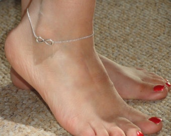 Infinity anklet, Silver infinity ankle bracelet, Infinity ankle bracelet, Ankle bracelet UK, Infinity jewelry,Gifts