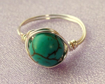 Turquoise wire wrapped ring, Silver turquoise wire wrapped ring, Gemstone ring, Blue stone ring