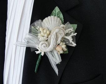 SEAHORSE, CORAL & SHELLS Sand Boutonniere, Beach Wedding, Destination Wedding, Tropical Island, Wedding Flowers,(#624)