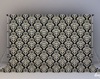 Beige & Black Damask - Photography Backdrop