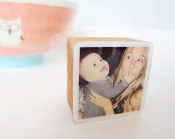 Personalized Photo Wooden Block, gift for Christmas, grandparents, new dad fathers