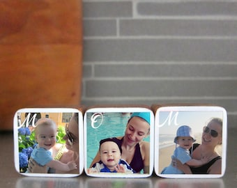 Mother's Day MOM, Personalized Photo Wood Blocks, Photo Letter Blocks, Gift for mom, Set of 3, Valentine's Day gift