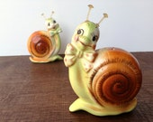 Vintage Snappy Snail Salt and Pepper Shakers Enesco 1950's Japan
