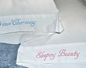 Sleeping Beauty and Prince Charming Custom Pillow Cases, Custom Embroidered Pillow Cases