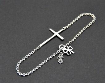 All Sterling Silver - Sideways Cross Bracelet, Sterling Silver Chain, Celebrity Inspired bracelet