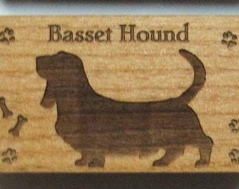 Original Design Basset Hound Wood Magnet