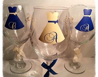 Bride bridesmaid maid of honor personalized dress monogram wine glass choose your vinyl colors.