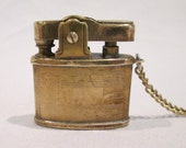 Vintage Pacton Brass Cigarette Lighter Miniature with Chain Japan