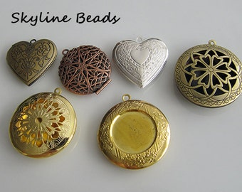 6 Brass Locket Pendants Mixed Shapes and Colors