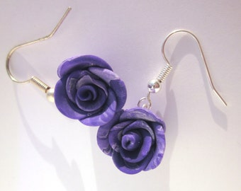 Rose Earrings, Rose Earrings, Rose Jewellery, Purple Pink Earrings, Purple Polymer Clay Jewellery, Clay Earrings, Rose Earring Jewelry