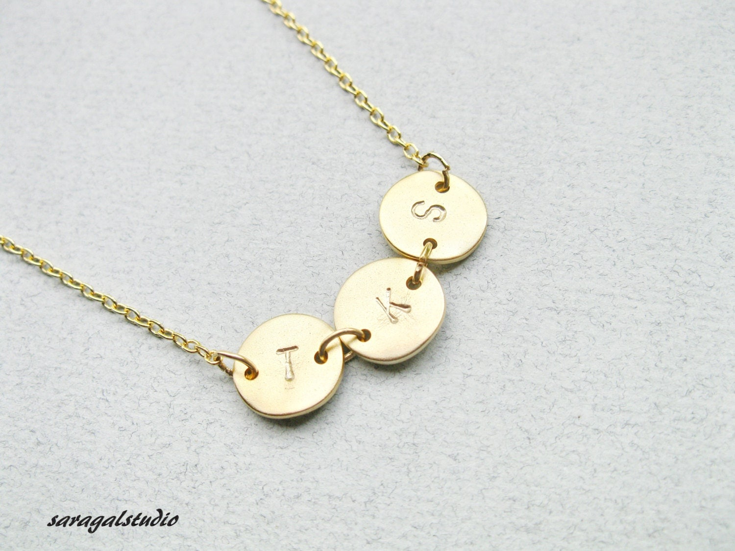 best friend necklace initial necklace 3 initial by