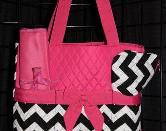 Machine Embroidered Quilted Diaper Bag- Chevron, Pink Trim