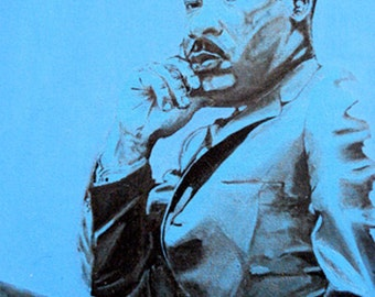 BARGAIN SALE - MLK's Dream is Dreaming in Blue # 1 by Amour - 2008 - Acrylic and Chinese Ink on Canvas - 60cm x 50cm - Original Painting