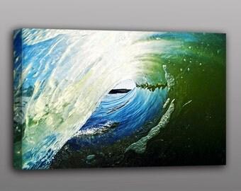 12x18 Canvas Print Ocean Wave Surfing Photograph Wall Art Home Decor