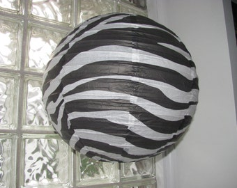 14 inch Black and White Zebra Pattern Hanging Paper Lantern