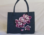 Large Tote Bag. Shades of Gray. Women. Felted Bag. Felt Handbag.Red Flowers Bag. Unique Art Bag. Genuine. Handmade. Beautiful gift for her