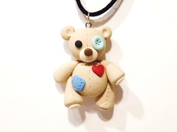 Tattered Teddy Bear Necklace - Choose Your Colors